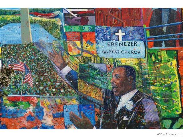 wand schilderij bij het informatie-centrum bij Martin Luther King jr. National Historic Site